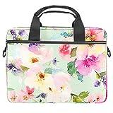 Bolsa para portátil de 13,4 a 14 pulgadas, multifuncional, maletín portátil, correa ajustable para el hombro, flores