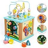 Cube d'Activité Bébé de Jouet en Bois 5 en 1 Jeu Éducatif Cube Bois avec Piste de Glisse, Enseignement de L'horloge, Trieur de Formes, Jeux Labyrinthe et Engrenages de Rotation Jouet D'apprentissage