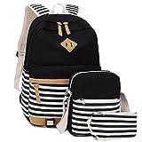School Backpack Set Students Casual Travel School Bookbag Teens Girls Boys Schoolbag (Black strip-3pcs)