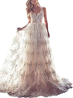 Product Features: Lace Wedding Dresses,Bohemian Wedding Dress,Spaghetti Straps, A-Line, Lace, Appliques, Backless, Sleeveless, Standard Size, Plus Size, Built In Bra, Floor Length. Size:Plz read my size chart image on the left carefully before orderi...