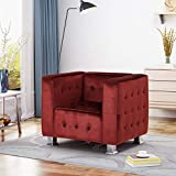 Christopher Knight Home Decco Velvet Square Cube Club Chair, Garnet