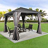 Peak Home Furnishings 10Ft x 10Ft Patio Hardtop Gazebo Outdoor Aluminum Pergola with Galvanized Steel Roof Canopy, Polyester Curtain and Mosquito Net