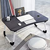 PENADIA Multi-Purpose Laptop Table, for Study and Reading with Foldable Non-Slip Legs Laptop Stands, Laptop Desk, Foldable Study Laptop Table with Tablet Slot & Cup Holder (Black)