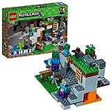 Construisez une grotte Minecraft avec une brique TNT, une échelle, un four, de la lave et du charbon, de la pierre rouge, des minerais d'or et des diamants Inclut une figurine de Steve de LEGO Minecraft et des figurines de zombie, de bébé zombie et d...