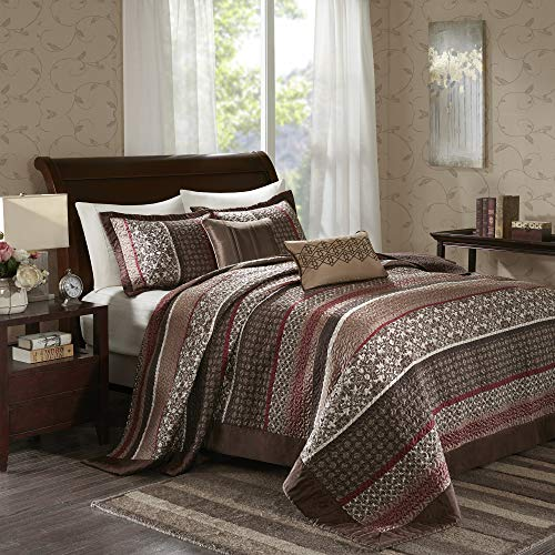 Madison Park Princeton Bedspread Set, Oversize King, Red