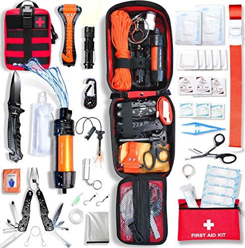 Baytiz | Survival Kit + Erste Hilfe Set - mit Wasserfilter Strohhalm und Outdoor Ausrüstung - Zubehör Camping Wandern Fahhrad Militär Rucksäcke Verbandskasten Auto Gadget Männer Kinder Armband Tasche