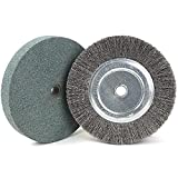 6 Inch Bench Grinder Grinding Wheel & Wire Wheel Brush with 1/2'' Arbor, 60 Grit Silicon Carbide Bench Grinding Wheel for Bench Grinder,for Drill Bits, Blades and Knifes Cleaning Polishing Sharpening