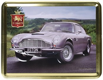 Stewart's 1960s Silver Aston Martin Classic Tin   Shortbread Rounds   Melt in Mouth   Crunchy and Creamy   Luxury   Biscuits   Collectable   Gift Idea   Designer   400g