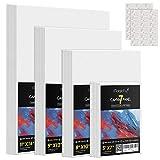 Magicfly Malkarton Leinwand Canvas Set zum Bemalen 28 teilig Weiß 12.7x18, 20x25, 23x30.5, 28x35.6 cm Malerei Malpappe für Acryl, Ölfarben, 100% Säurefreie Baumwolle, mit Aufkleber