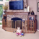 Toddleroo by North States 3 in 1 Wood Superyard: 151' Long Extra Wide Baby gate, Barrier or Play Yard. Hardware or freestanding. 6 Panels, 10 sq.ft. Enclosure (30' Tall, Stained Wood)