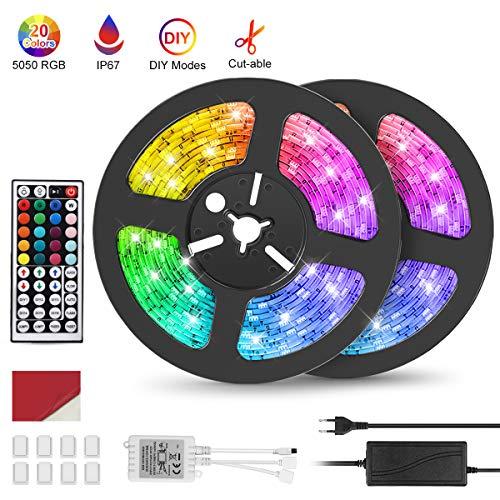 Striscia LED 10M (2 * 5M), IP67 Impermeabile Esterno Luci LED RGB Decorazioni Camera, Dimmerabile con Telecomando, 20 Colori, 6 Modalit Dinamiche, Adatto a Camera da Letto, Armadio, Festival, Feste