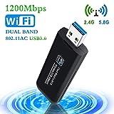 PiAEK WiFi Adapter 1200Mbit/s USB 3.0 Wireless Mini Adapter Stick WiFi Dongle Dualband 2.4 G/5.8 G 802.11 ac für Windows XP/7/8/8.1/10/ Vista/Linux/Mac OS