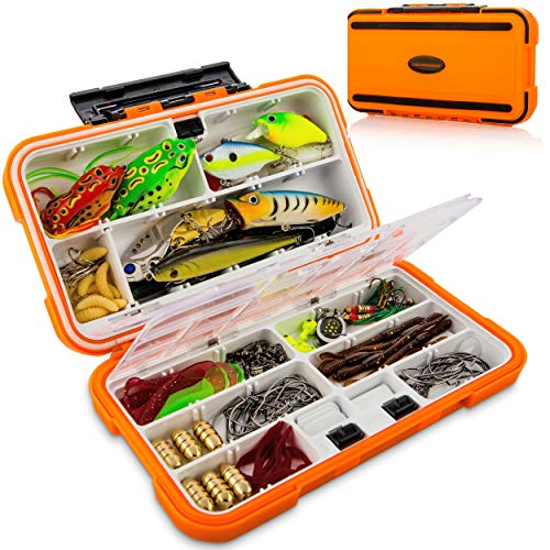 catchmeister Fishing Lures Baits Tackle Box and Lure Kit Piece Saltwater & Freshwater Fishing Rig...