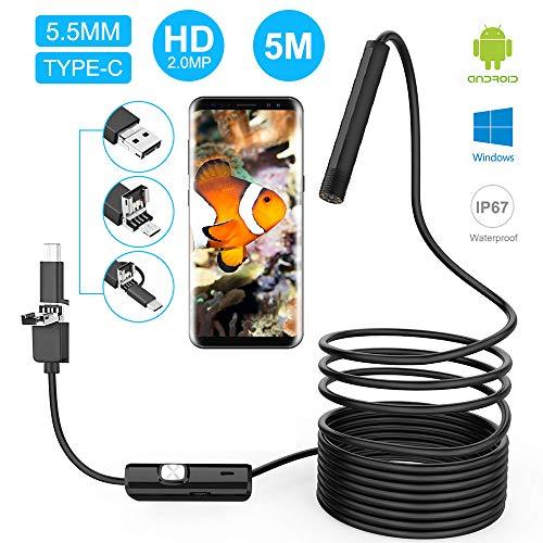 innislink Endoscopio, Telecamera di Ispezione USB Endoscopio Android 3 in 1 Type-C/Micro/USB Impermeabile Semirigido Boroscopio Periscopio Ispezione Snake Camera per Android Phone Tablet Windows -5m