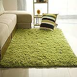 Soft Modern Indoor Large Shaggy Rug for Livingroom Bedroom Dorm Kids Room Home Decorative, Non-Slip Plush Fluffy Furry Fur Area Rugs Comfy Nursery Accent Floor Carpet 3x5 Feet, Green