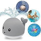DPTOYZ Bath Toys Light Up Bath Toys Induction Squirt LED Whale Bath Toy Bathtub Shower Pool Bathroom Toys, Ideal Birthday for Baby Toddler Infant Kids (Grey