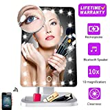Hansong Makeup Mirror with Lights and Bluetooth,Girl Vanity Mirror with 20 LED, Adjustable Brightness, Detachable 10x Magnification,Children Lighted Up Cosmetic Mirror, Rechargeable (White)