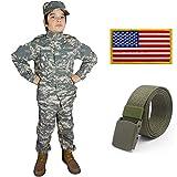 Kids Military Costume Army Uniform Camo Tactical Suit - Cap, Shirt, Pants, Belt, Patch Set - Boys (4-5, ACU)