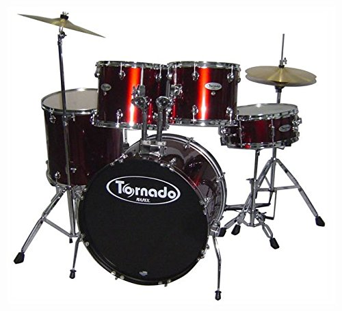 Mapex Tornado TND5254TCDR 5-Piece Drum Set with Hardware Throne and Cymbals, Wine Red