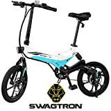 Swagtron Swagcycle EB-7 Elite Folding Electric Bike, 16-Inch Wheels, Swappable Battery with Keylock & Rear Suspension (White)