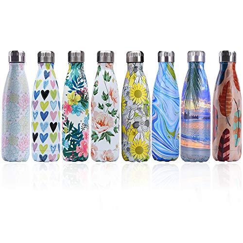 Bottiglia con doppio strato in acciaio inox,portatile BPA free Bottiglia,viaggio per sport senza perdite costruita per non far formare condensa puoi bere sia bevande calde che fredde 17oz (Heart)