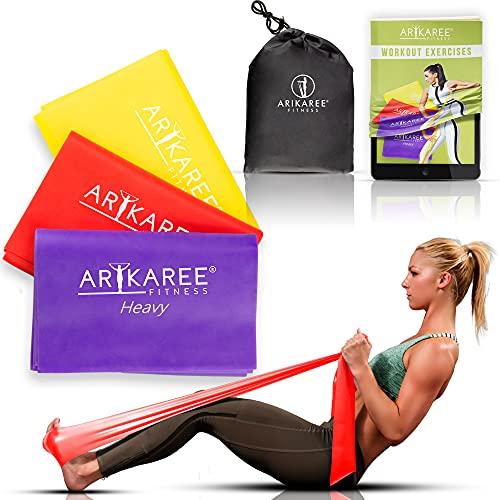 Arikaree Elastici Fitness, Bande Elastiche Fitness per Casa e Palestra Kit Fascia Uomo Donna 3 Livelli di Resistenza Elastici per Esercizi Allenamento Yoga Pilates Ginnastica E-Book Omaggio