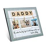 Cadre Photo avec Nom Gravé, Cadeau pour Papa Inscription Love Daddy! Cadeau pour La Fête des Pères, Tableau avec 3 Photos avec Inscription avec Nom, 250 x...