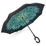 TRADE® Parapluie inversé Double Couche Peacock Plumes Autonome Mains Libres Résistant au Vent Anti-Ultraviolet Inverser Parapluie Pliant Antidérapant en Forme de C Manipuler pour Voiture Utiliser