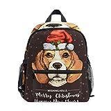 Mochila para niños y niñas Mini Mochila Bolsa de Viaje con Clip para el Pecho Perro Beagle de Navidad