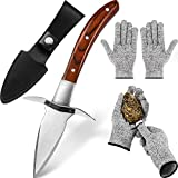 Oyster Shucking Knife and Cut-Resistant Gloves Set Includes 2 Pairs Level 5 Protection Safe Cutting...