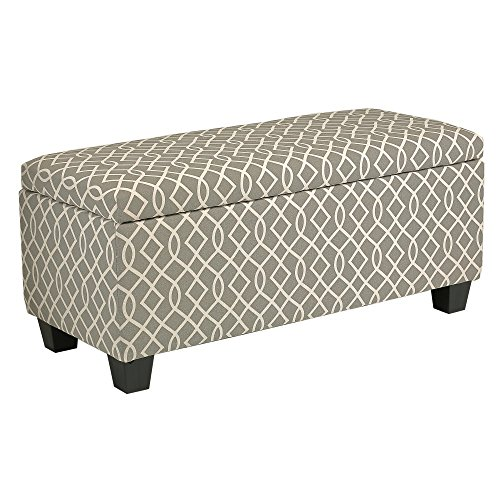 Cortesi Home Kiki Fabric Storage Long Bench Ottoman, Grey