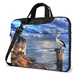 Pelican Bird Blue Sea Sky Impreso Laptop Bag, Bolso Business Shoulder Messenger Bag Maletín