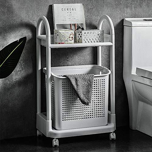 ZQH Badezimmer-Speicher-Karren - Nordic Startseite Wäschekorb, Stehen Storage Rack mit Rollen, Multifunktions bewegliche Lagerung Regal,2 Tier