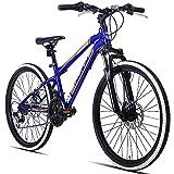 Hiland 24 Inch Mountain Bike Steel Bicycle with Disc Brakes Urban Commuter Bike Blue Orange
