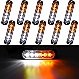 LivTee 12-24V Super Bright Emergency Warning Caution Hazard Construction Waterproof Strobe Light Bar with 17 Different Flashing for Car Truck SUV Van - 10PCS (White/Amber)