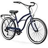 sixthreezero Around The Block Women's 7-Speed Beach Cruiser Bicycle, 26' Wheels, Navy Blue with Black Seat and Grips