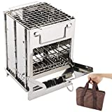Folding Wood Burning Camp Stove, Portable Stainless Steel 304 Mini Wood Burning Camp Stove with Grill for Camping, Hiking Survival BBQ