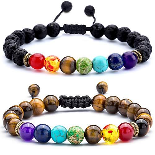 Hamoery Men Women 8mm Lava Rock Chakra Beads Bracelet Set...