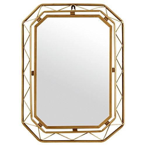 Amazon Brand  Rivet Modern Metal Lattice-Work Octagonal Hanging Wall Mirror 22.25 Inch Height, Gold Finish