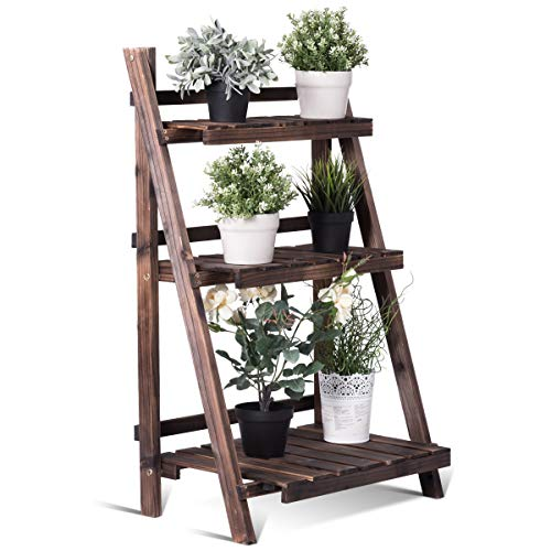 Giantex 3 Tier Folding Wooden Plant Stand
