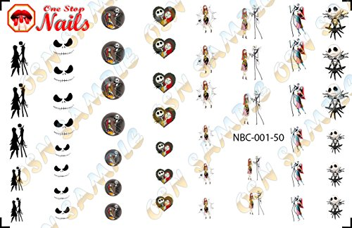 Jack Skellington (The Night Before Christmas movie) V1 clear waterslide nail art decals (tattoos). Set of 50 by One Stop Nails.