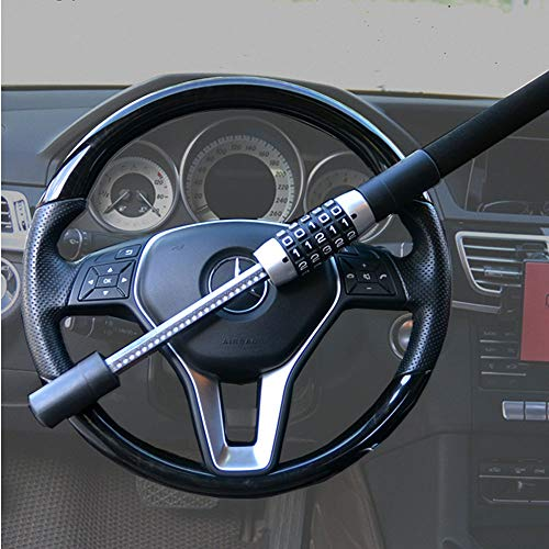 Steering Wheel Lock 5 Digit Combination Anti-Theft Extendable Double Hook Car Security Device...