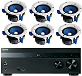 Sony 5.2-Channel 725-Watt 4K A/V Home Theater Receiver + Yamaha High-Performance Moisture Resistant 2-Way 90 watts Surround Sound in-Ceiling Speaker System (Set of 6)