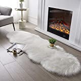 Ultra Soft Fluffy Rug White Faux Sheepskin Fur Area Rug Shaggy Couch Cover Seat Cushion Furry Carpet Beside Rugs for Bedroom Floor Sofa Living Room Runner, 2x6 Feet SERISSA (Sheepskin Shape,White)