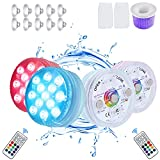 4 Packs Submersible LED Pool Lights,Bathtub Light Waterproof IP68,13 LED,16 Colors Timer Underwater Lights with RF Remote,Magnets,Suction Cups,for Pool,Tub,Fishtank.Attach 2-Pack of Pool Skimmer Socks