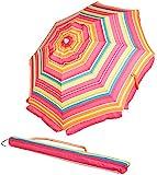 AmazonBasics Beach Umbrella - Pink/Yellow Striped