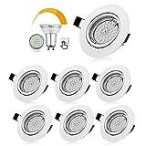 Bojim Lot de 6 Spots LED Encastrables Orientables Dimmables, Luminaires Encastrés GU10 Blanc Neutre...
