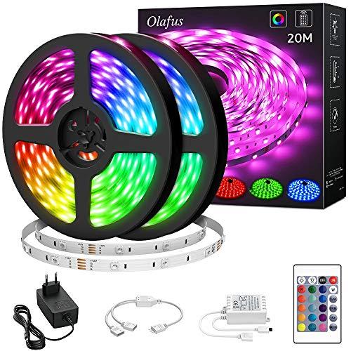 Olafus 20M RGB LED Strip, Farbwechsel LED Streifen 24V, 5050 RGB LED Streifen Selbstklebend, LED Band Lichterleiste mit Fernbedienung, Lichtband mit Netzteil Controller für Weihnachten Party Deko