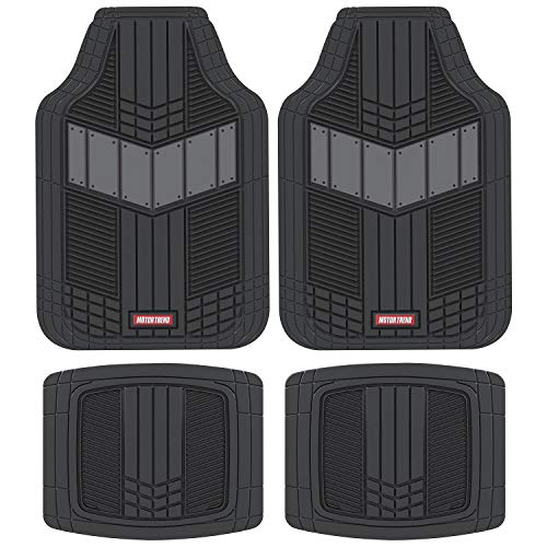 Motor Trend DualFlex Two-Tone Rubber Car Floor Mats for Automotive SUV Van Truck Liners - Channel Drainer All Weather Protection