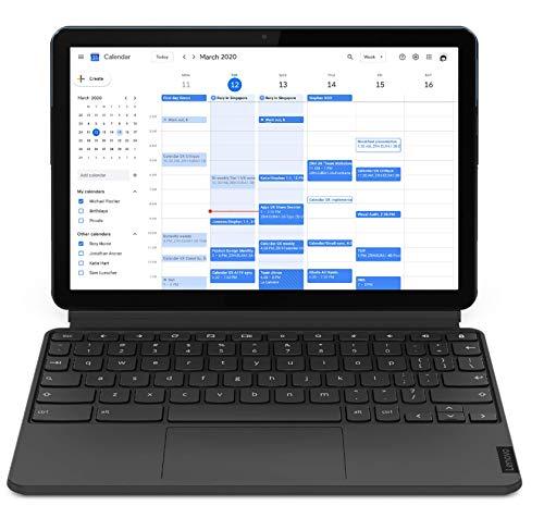 Lenovo IdeaPad Duet Chromebook 2-in-1 - Display 10.1'' Full HD (Processore MediaTek P60T, Storage 128GB, RAM 4GB, Wi-Fi+Bluetooth, ChromeOS) Lenovo Keyboard, Blu Ghiaccio/Grigio Ferro [CB]